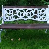 DIY refinished iron garden bench