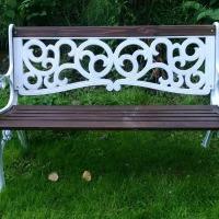DIY refinished iron garden bench